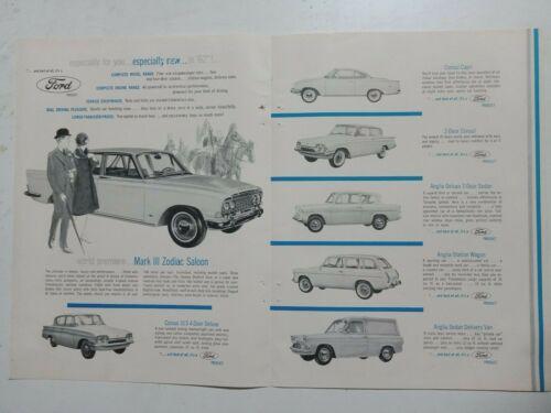 1962 FORD ZODIAC CONSUL & ANGLIA USA MAGAZINE 4 PAGE CENTRESPREAD ADVERTISEMENT