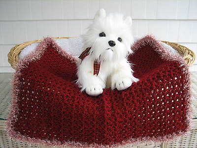 Fancy Dog Cat Bed Blanket Claret with Claret and White Sparkle Faux Fur Trim