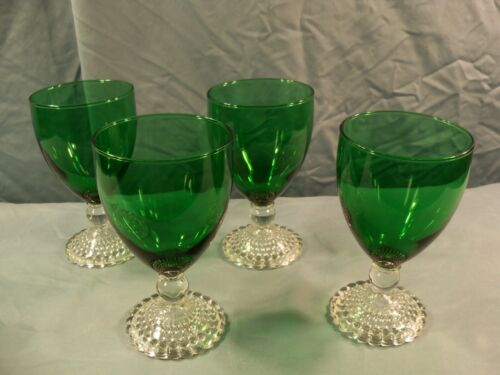 Set of 4 Anchor Hocking Forest Green Bubble Boopie Burple Water Goblets