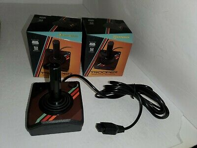 2 NEW DUAL BLACK BUTTON JOYSTICK CONTROLLERS FOR ATARI 2600 W/10FT  CORD CABLES