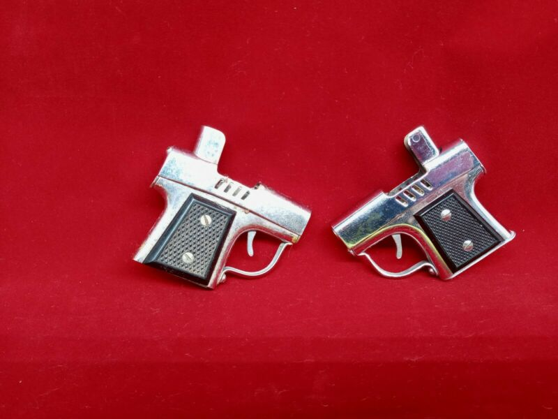 2 Vintage Metal Gun Lighters lot group Made In Occupied Japan missing parts two