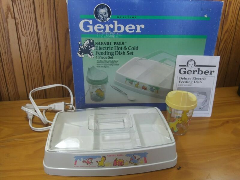 Vintage 1992 Gerber Mealtime Safari Pals Electric Hot & Cold Dish Set 76026