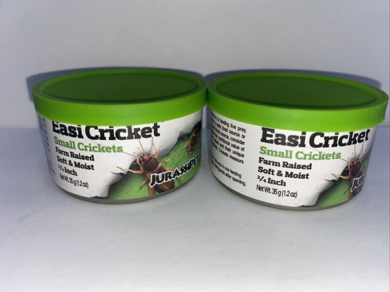 2 Cans Jurassipet Easi Hopper 35g 1.2 Oz SMALL CRICKETS Farm Raised FREE FAST SH