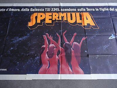 Spermula Udo Kier Cult Sci-Fi Sexploitation Adult 1976 RARE 3-PT ITALIAN POSTER