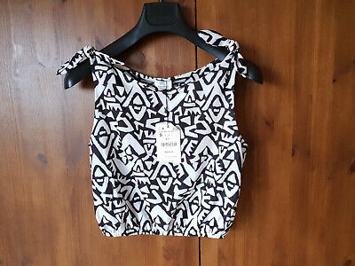 ZARA SUMMER CROP VEST TOP Cropped Print Black White S M L / UK 10 12 14 - NEW