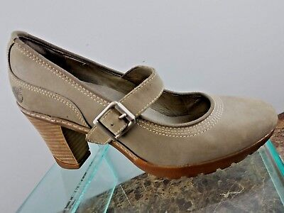 Timberland Brown Leather Mary Jane Strap Round Toe High Heel Pumps Womens 9.5B Brown Round Toe High Heel