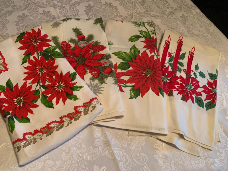 4 FESTIVE Vintage Christmas Tablelcoths Poinsettia Holly Red Candles