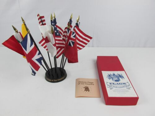 "Vintage 1988 ANNIN Flags of Our Country Desk Display - Ten 4x6"" Flags w/ Base"