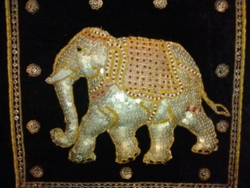 Mid Century Kalaga Framed Sequence Tapestry Asian Burmese Thai India Elephant