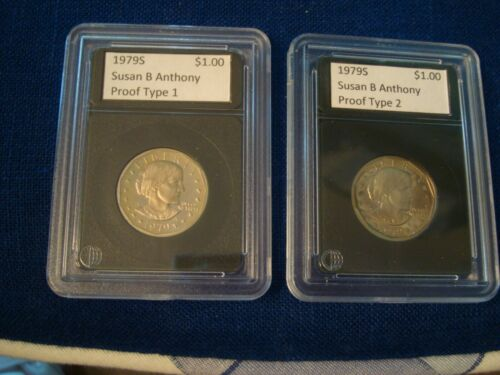 1979-S Type 1 & Type 2 Proof Susan B. Anthony Dollars SBA $1