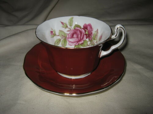 Adderley Fine Bone China England Cup and Saucer Maroon w/ Roses Inside H473
