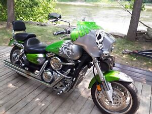 Moto Kawasaki Vulcan 1600 Mean Streak 2004 au look unique