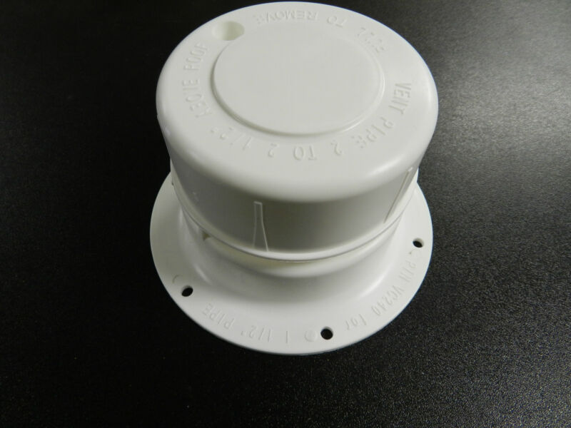 """WHITE Plastic Attic/Plumbing Vent Cover / cap 1-1/2"""" Pipe Diameter RV Trailer"""