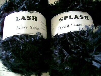 LOT of 5 Balls Crystal Palace Yarns Splash 202 BLACK Feather Boa Eyelash LOT