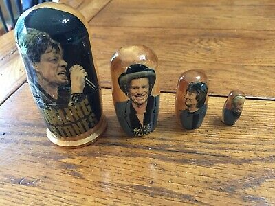 """THE ROLLING STONES ROCK BAND NESTING DOLLS STACKING 4"""" - 5 PIECE SET"""