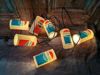 Vintage Retro Pepsi-Cola Party Lites String 7 Camping Rv Patio Blow Mold Lights