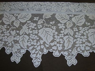 NEW ONE LACE CROCHET FLORAL LEAF IVY SWAG VALANCE BLUE SCALLOPS 60