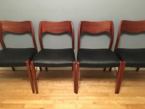 Stunning mid century modern Teak and leather chairs