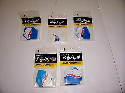 DART FLIGHT SETS LOT OF 5 PACKAGES POLY ROYAL RIGID POLYESTER