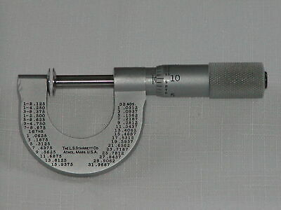 Starrett 256p-1 Disc-type Micrometer With Rotating Spindle