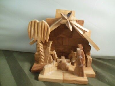 Beautiful Carved Wood Nativity Set Made In Bethlehem West Bank