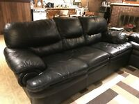Black leather couch set, love seat, and arm chair