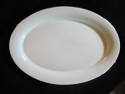 White Gold Trim Medium Oval Platter Serving Plate Blackhawk Marketing LLC