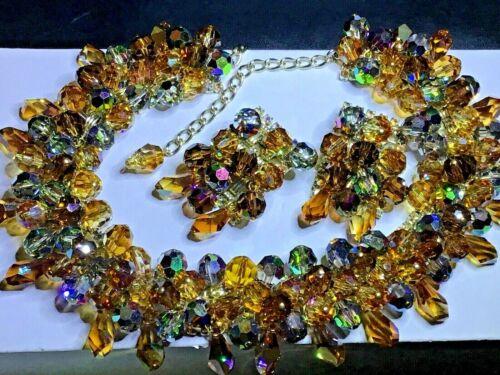 Vntg HOBE' Rhinestone Crystal Necklace Earring Demi Set Bauble Showcase Quality