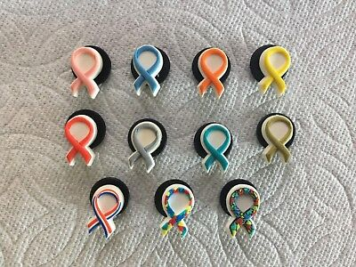 Aids Awareness Ribbon (AWARENESS RIBBONS AIDS RIBBON OVARIAN CANCER LEUKEMIA BREAST CANCER JIBBITZ)