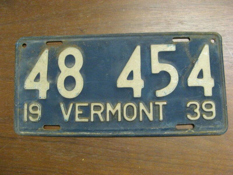 1939 39 VERMONT VT LICENSE PLATE 48 454