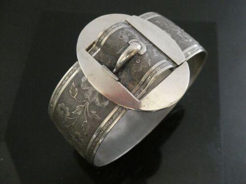 """Victorian SP Floral Ornate Belt Buckle Style Hinged  Bangle Bracelet Size 7"""""""