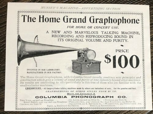 Antique1899 HOME GRAND GRAPHOPHONE Columbia Phonograph Print Ad~Home/Concert Use