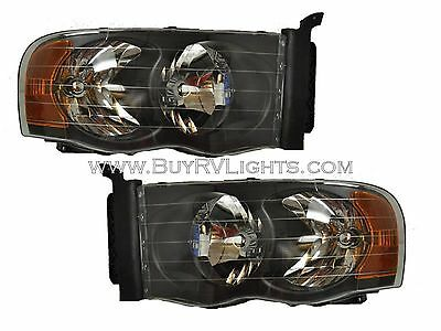 TIFFIN ALLEGRO BUS 2005 2006 2007 BLACK HEADLIGHTS HEAD LIGHTS FRONT LAMPS RV