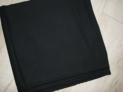 """VINTAGE 70'S NEW YORK COUTURE BLACK WOOL CREPE FABRIC  1 YD + 20"""""""