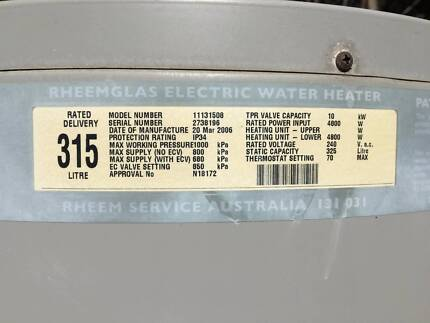 RHEEM 315L ELECTRIC HOT WATER SYSTEM IN FAIR COND