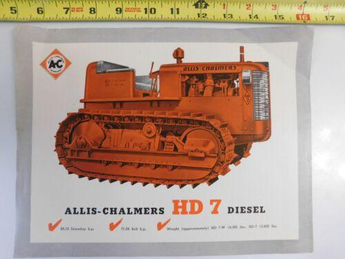 VINTAGE ALLIS CHALMERS HD 7 CRAWLER DEALER PROMO AD