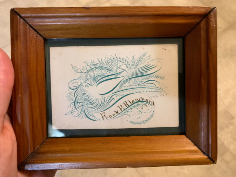 19th Century Framed Calling Card Calligraphy In Green Ink W Bird & Name Lovely