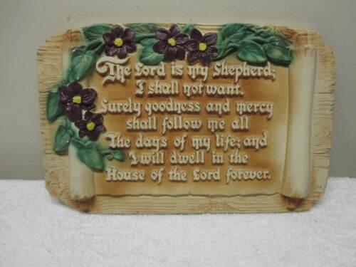 OLD 1951 Lg LARSEN Bible Verse PSALM 23 Chalkware Wall Plaque Hanging NICE!