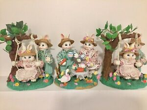 Bunnies in the park 3 set Easter home decor