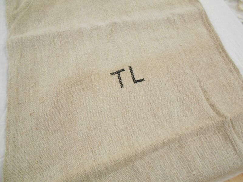 19X45 Vtg Antique MONOGRAM TL European HEMP LINEN Fabric FEED SACK GRAIN BAG
