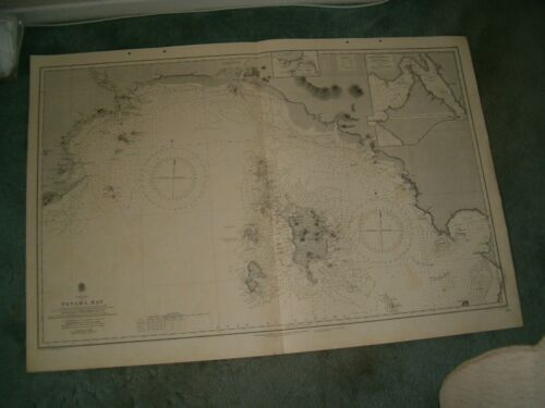 Vintage Admiralty Chart 2261 PANAMA BAY 1916 edn