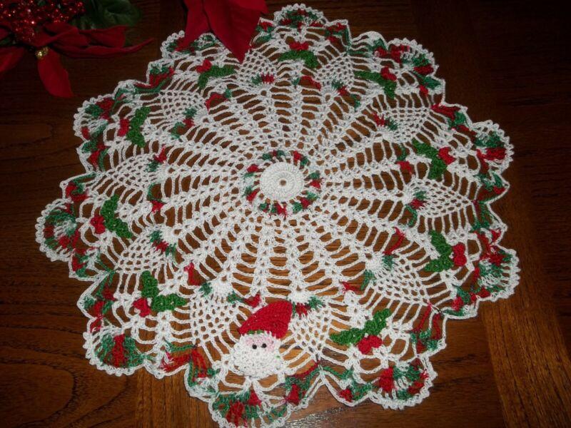 """New Hand Crochet Christmas Doily Santa and 9 Holly 14"""""""