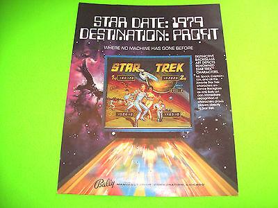 Bally STAR TREK Original 1979 Pinball Machine Promo Flyer Adv Captain Kirk SPOCK
