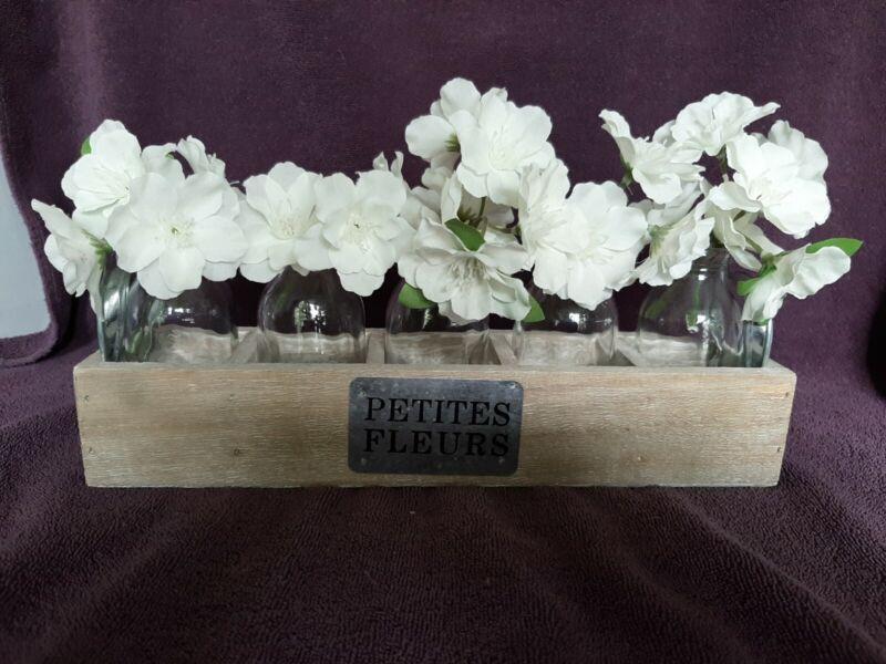 Farmhouse Decor Petites Fleurs (Petite Flowers) Miniture Bottles and Crate