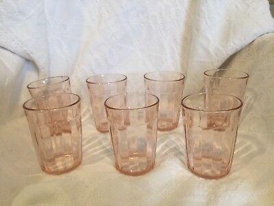 "7 Pink Depression Glass, Ribbed Tumblers, 4"" Vintage"