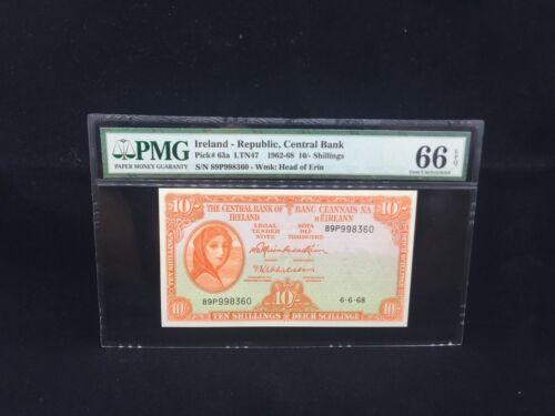 "1968 Ireland-Republic,10/- Shillings P-63a ""LADY LAVERY"" PMG 66 EPQ"