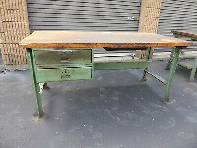 Vintage Lyon 6ft Butcher Block Work Bench W Drawer Green Legs Antique Factory 3