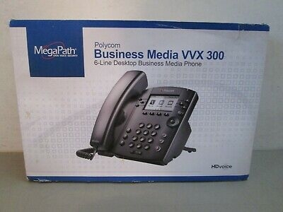 New Polycom Vvx300 Voip Business Media Desktop Phone 6-line Hd 2200-46135-001