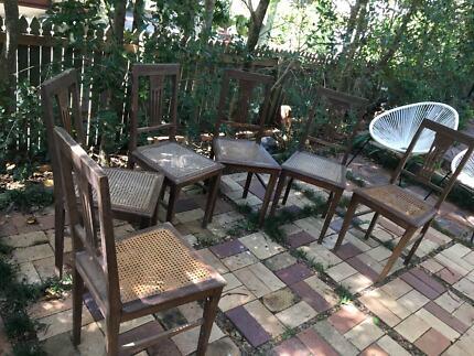 Set six English oak antique chaurs