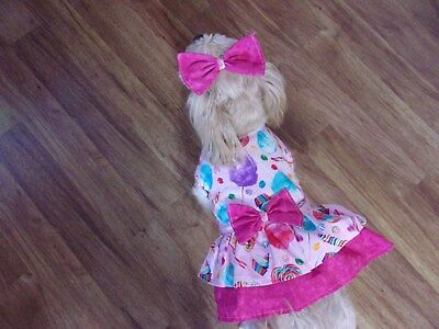 """dog dress,""""Tis So Sweet,candy&cupcakes,Large for small breeds*see size details"""
